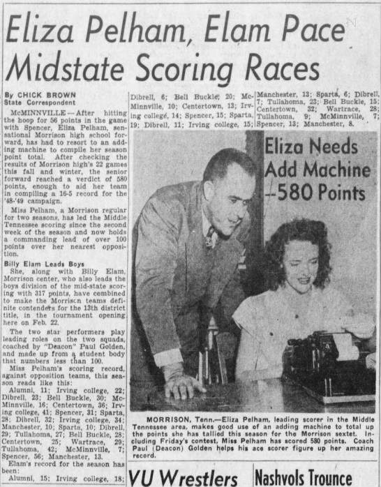Eliza Pelham BB Star The Tennessean 13 Feb. 1949