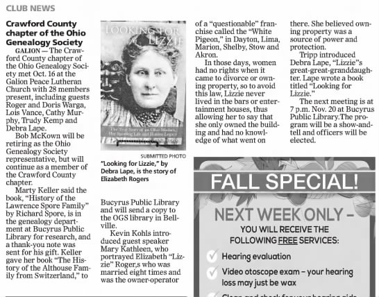 2014.10.24 Bucyrus Crawford County Chapter, Lizzie booktalk