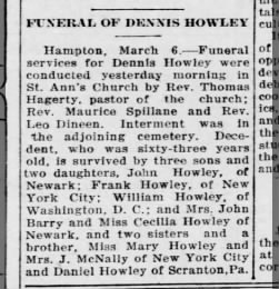 1924 - Dennis Howley Obituary