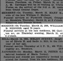 William B Higgins Death Notice