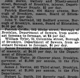 william tyler promoted toforeman brooklyn dept of sewers 8/19/1899