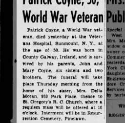 Coyne Patrick age 50 ww1 vet born County Galway died 08/18/1941