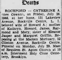 Catherine A. Rochford wife of Howard_Death notice fr. 1946