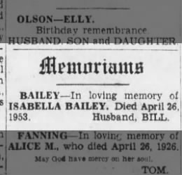 Bailey, Isabella & Bill - memoriam 26 Apr 1954