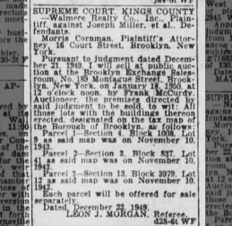 court ordered sale of property of Joseph Miller in Jan 1950