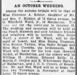 Kohler-Ward Marriage announce 10/6/1905
