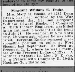 Sergeant William Edward Ensko (1888-1918)