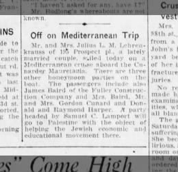 Mittelmeer Hochzeitsreise Lester L.
