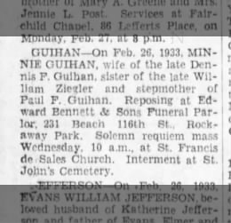 Minnie Guihan - death notice (2nd wife of Dennis Jr)