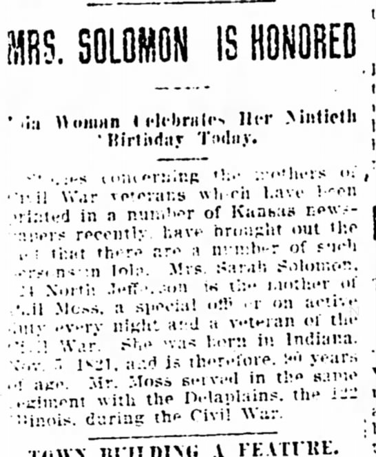 Mrs Solomon is Honored 90th Birthday - The Iola Register 4 Nov 1911 Page 1