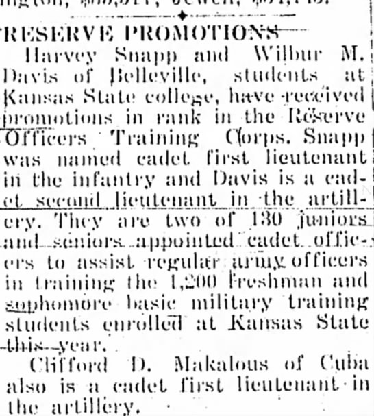 Reserve Promotions - Thursday, March 1943