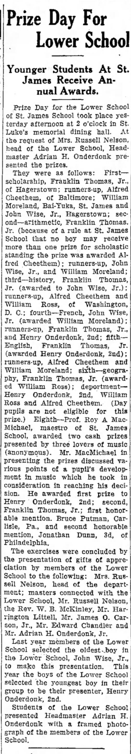 John Wise Jr. School Prize 1939