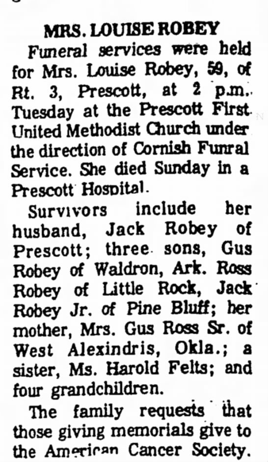 Louise Robey Obituary 11.04.1974