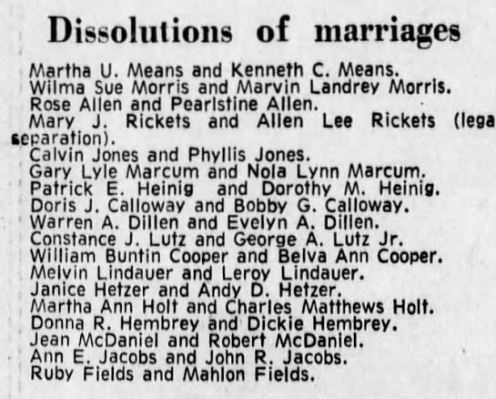 dissolution of marriages 1973