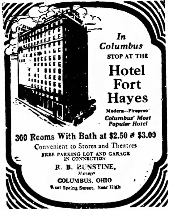 1930 Hotel Fort Hayes Ad