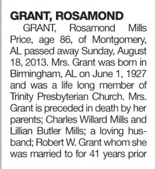 Rosamond Mills Grant Price - obituary (part1)