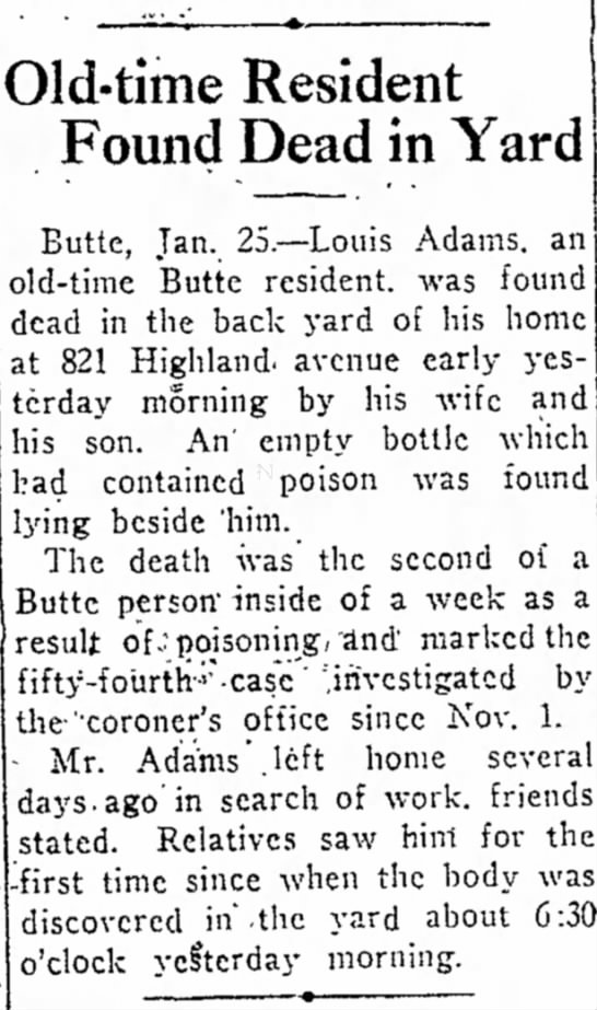 Louis Adams Death Notice