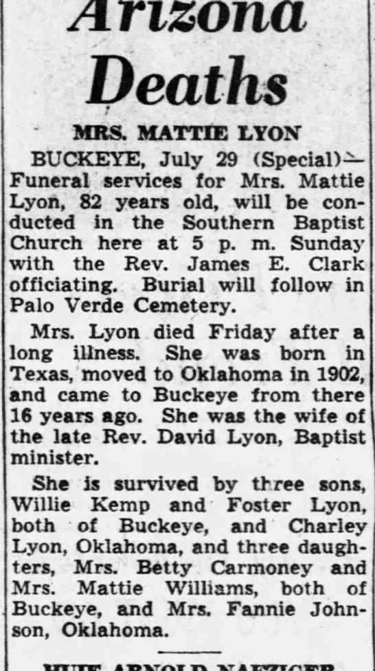 "Obit for Martha Ellen ""Mattie"" (Latham) Kemp Lyon 1868-1950"