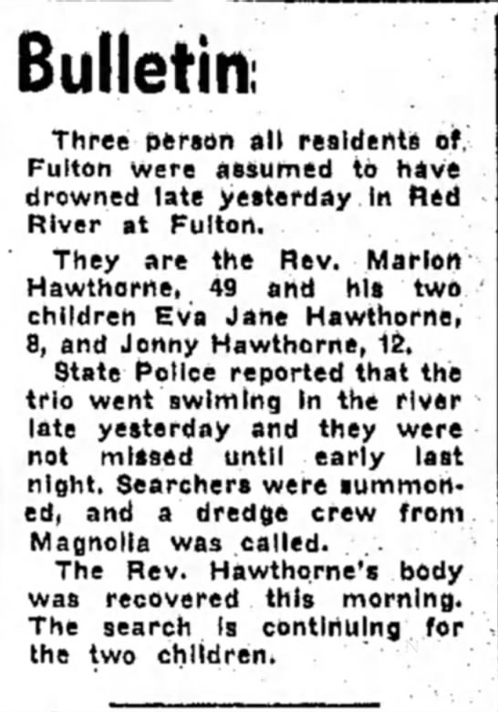 Hope Star, 2 July 1954 p18, bulletin of drowning of Marion Hawthorne & children