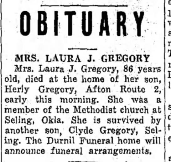 Mrs. Laura J. Gregory Obit- 06 Mar 1944