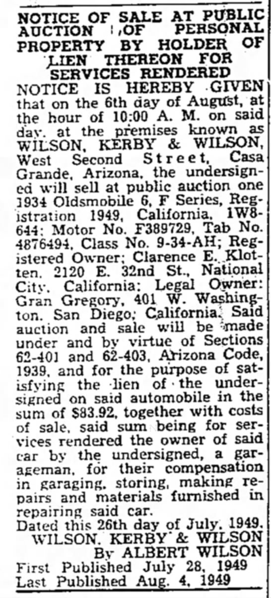 Clarence E Klotten's Car Auctioned