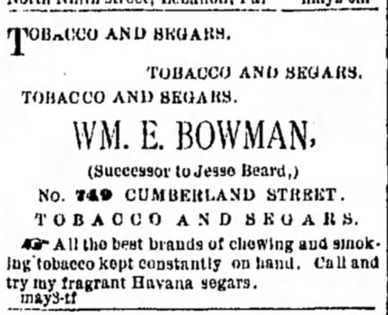 Jesse (Josiah) Beard - successor to his tobacco shop, after his death in March 1882