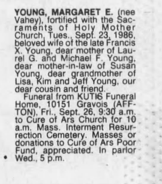 Young, Margaret E-Obit St. Louis Post-Dispatch 24 Sep 1986 page 4B