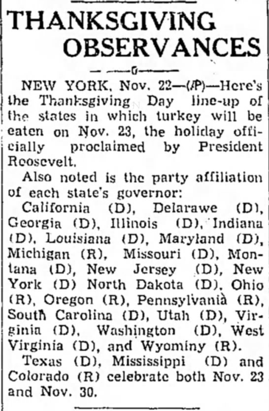 25 states follow Roosevelt's decision to celebrate Thanksgiving a week early