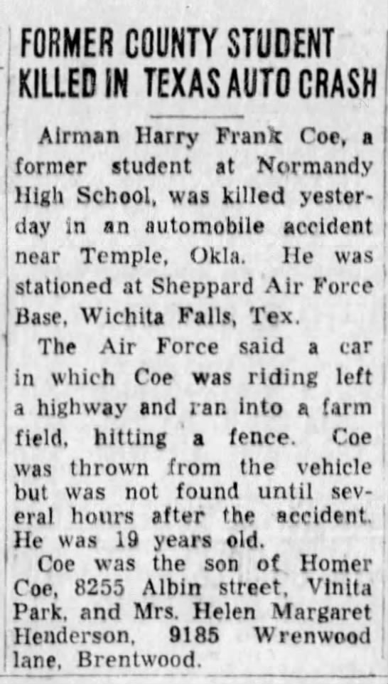 harry franklin coe death st louis post dispatch 22 may 1956 https://www.newspapers.com/image/140077554/?terms=harry%2Bcoe