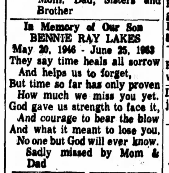 10 year memorial for Bennie Ray