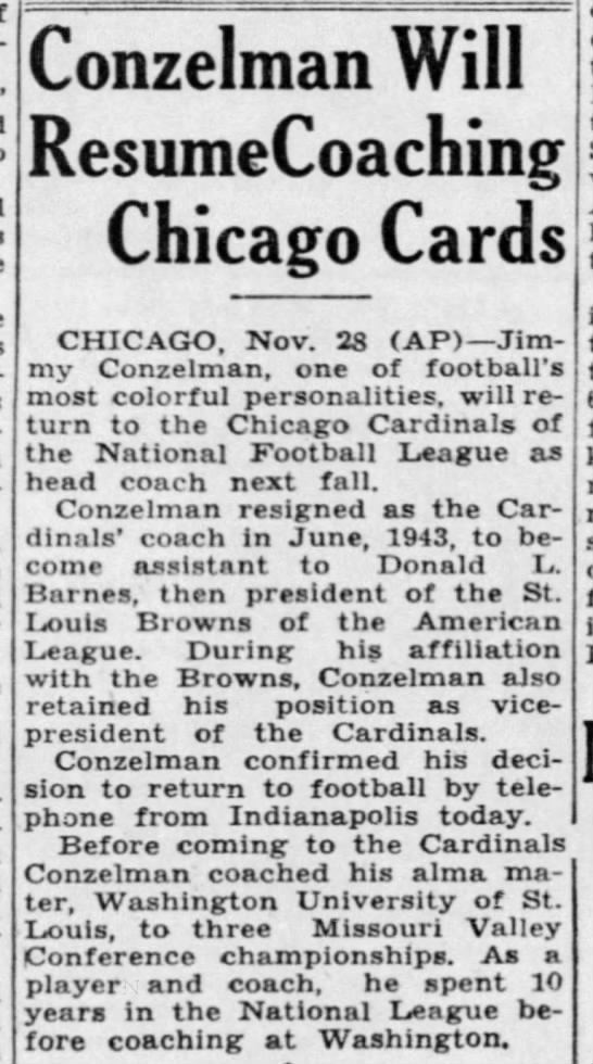 Conzelman Will Resume Coaching Chicago Cards