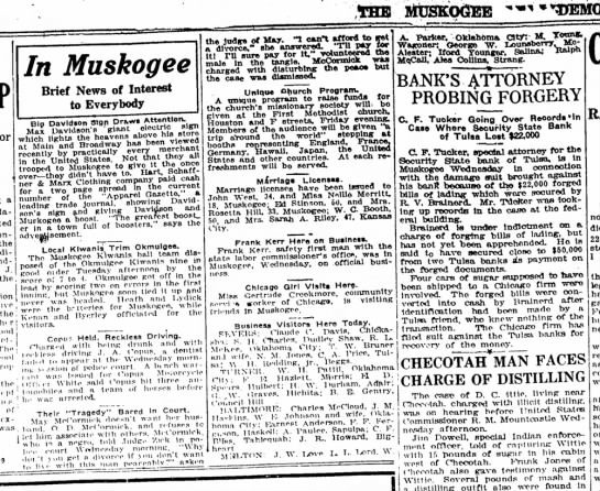 Iford Younger, Business visitor to Milton, OK, Muskogee County Democrat, May 27, 1920
