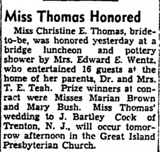 Wentz, Teah, honors Christine E. Thomas at Luncheon and Shower 1938