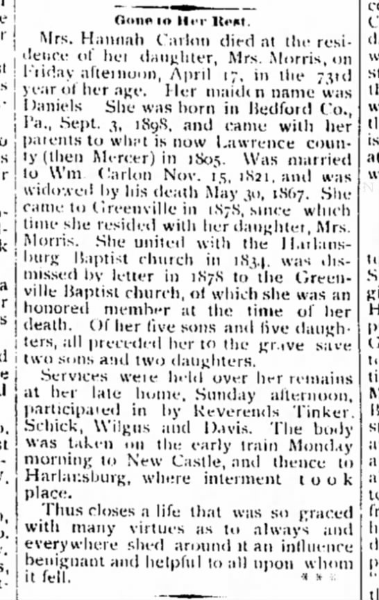 Mrs Hannah (William) Carlon