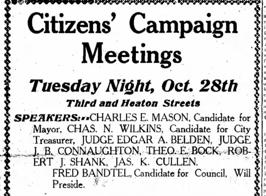 Fred Bandtel Candidate, The Journal News, Hamilton,OH Oct.27,1913 Mon. p.7