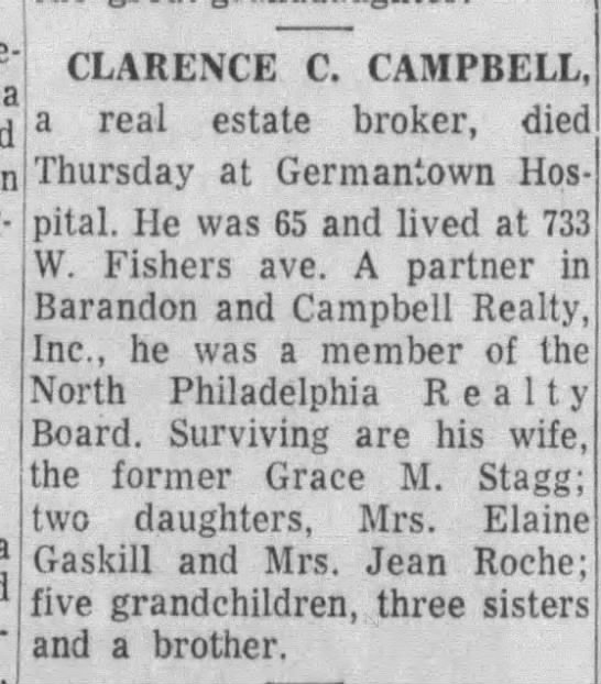 16 Feb 1964 Philadelphia Inquirer, Page 51. Death Notice of Clarence C. Campbell
