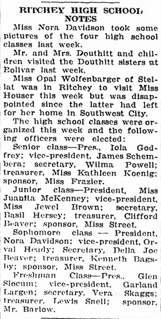 Mr and Mrs Douthitt and children visited the Douthitt sisters at Bolivar last week.