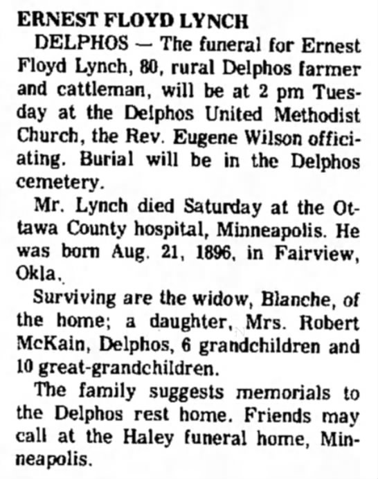 Lynch, Ernest Floyd obit