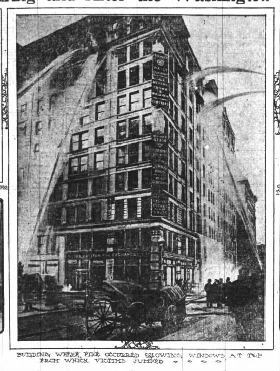 Firefighters work to put out fire at Triangle Shirtwaist Factory