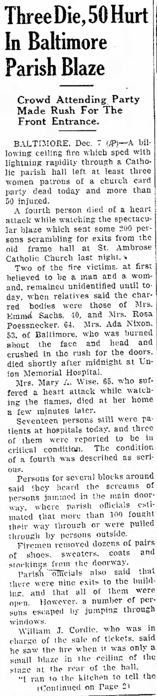 St Ambrose Fire - Dec 7, 1944 - Hagerstown Daily Mail