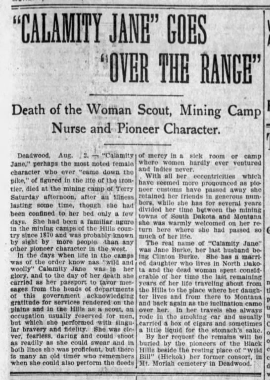 Brief account of Calamity Jane's life as a frontierswoman