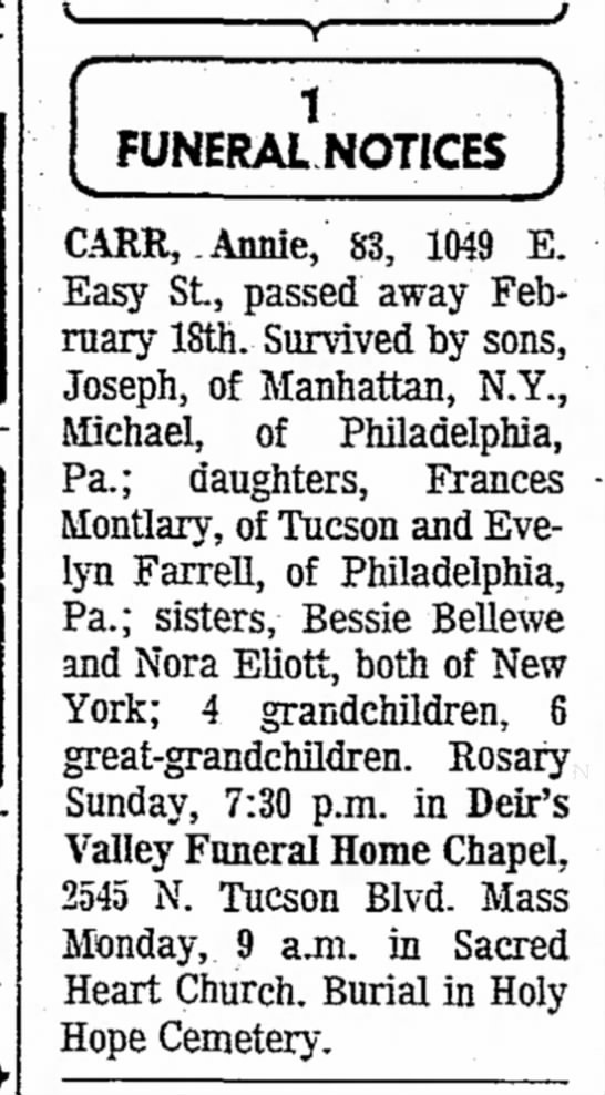 Carr, Annie Funeral Notice (Tucson Daily Citizen 02-20-71)