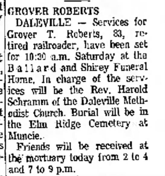 Grover Roberts death notice