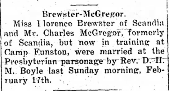 Florence Brewster, The Belleville Telescope, 21 Feb 1918