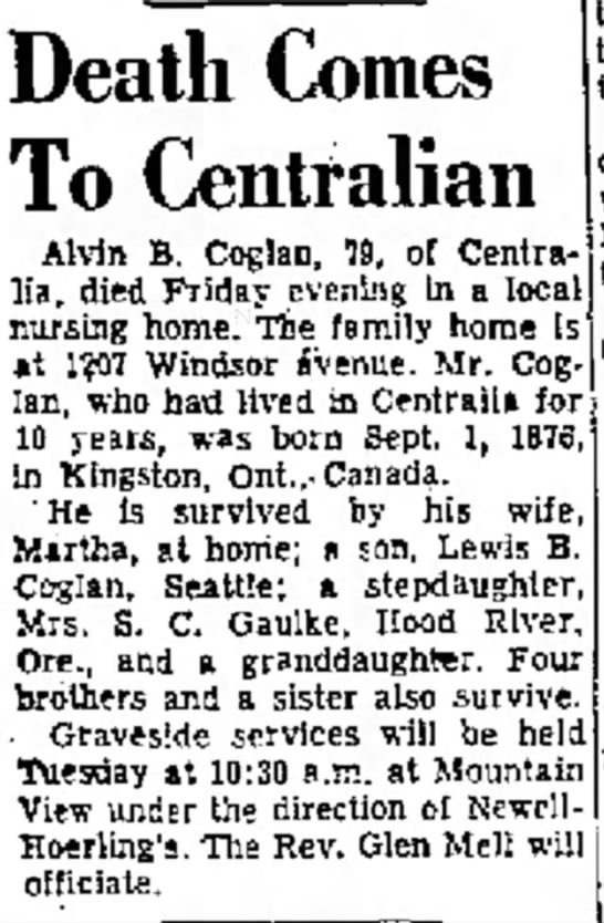 Dell didn't stay married to Alvin B. Coglan apparently The Daily Chronicle 19 Dec 1955
