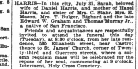Harris, Sarah, Death Notice, SF Chronicle, August 2, 1898.