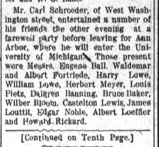 Albert Fortriede, Fort Wayne Daily News, Fri. Sept. 20, 1907 p.2  contd p.10
