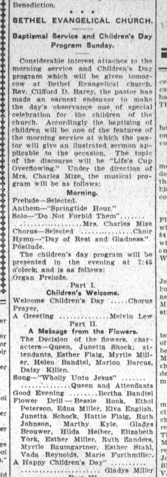 Helen Bertha Bandtel, The Ft.Wayne Sentinel Sat. June 12,1909 Sat. p.5