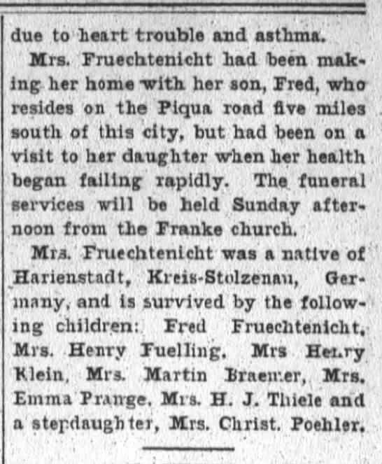 Sophia Fruechtenicht, The Fort Wayne Sentinel, Fri. Feb. 26, 1904, p.6   part2