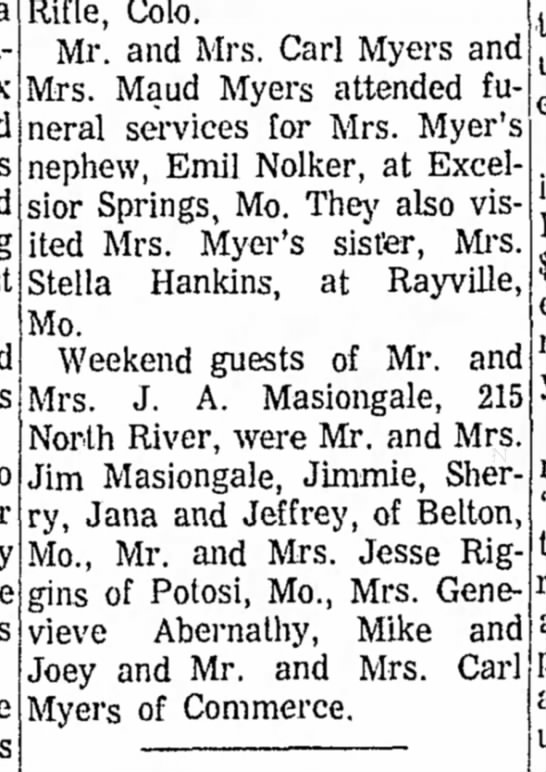 Mrs. Maud Myers, Mr. & Mrs. Carl Myers, Mrs. Stella Hankins  attend funeral
